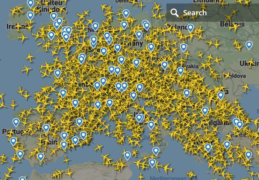 Flight radar European Flights, 25th June 2010